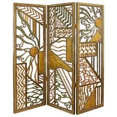 Mid-Century Modern Hand Tooled Brutalist Metal Room Divider Screen 3-Panel 1970s