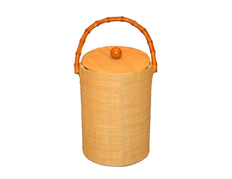 Mid-Century Modern Handwoven Cane & Bamboo Insulated Ice Bucket with Lid For Sale 3
