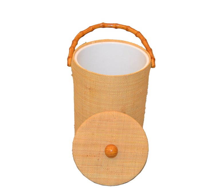 Hollywood Regency Mid-Century Modern Handwoven Cane & Bamboo Insulated Ice Bucket with Lid For Sale