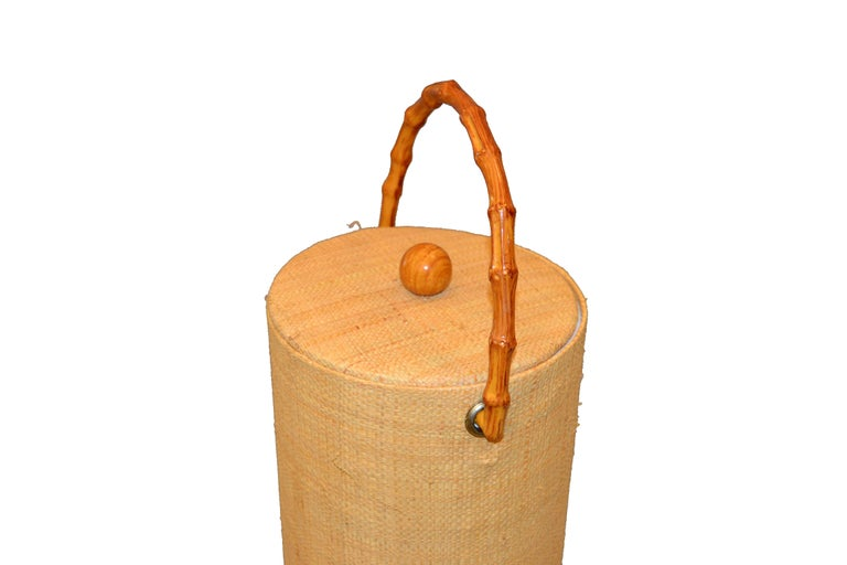 American Mid-Century Modern Handwoven Cane & Bamboo Insulated Ice Bucket with Lid For Sale