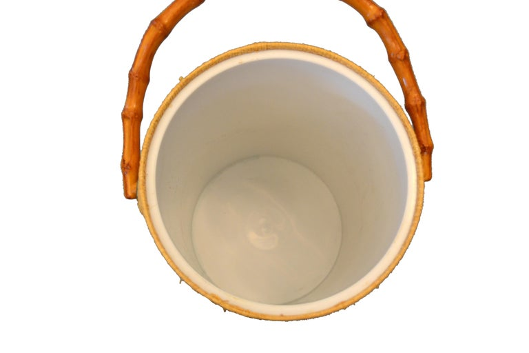 Hand-Woven Mid-Century Modern Handwoven Cane & Bamboo Insulated Ice Bucket with Lid For Sale