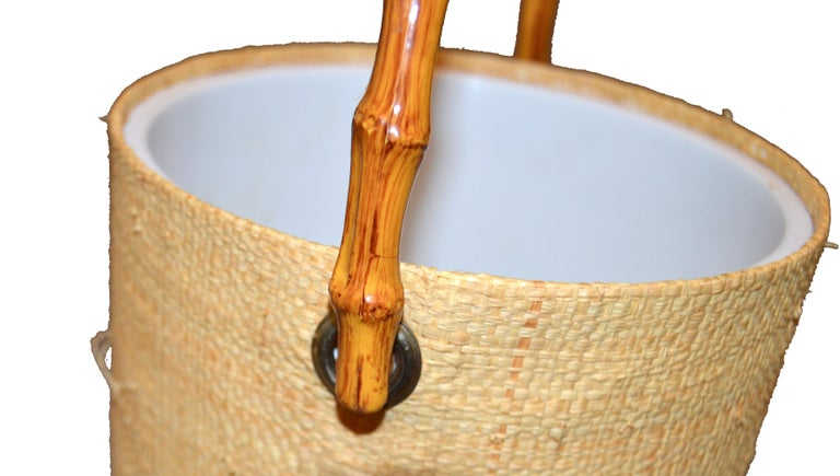 Mid-Century Modern Handwoven Cane & Bamboo Insulated Ice Bucket with Lid For Sale 1