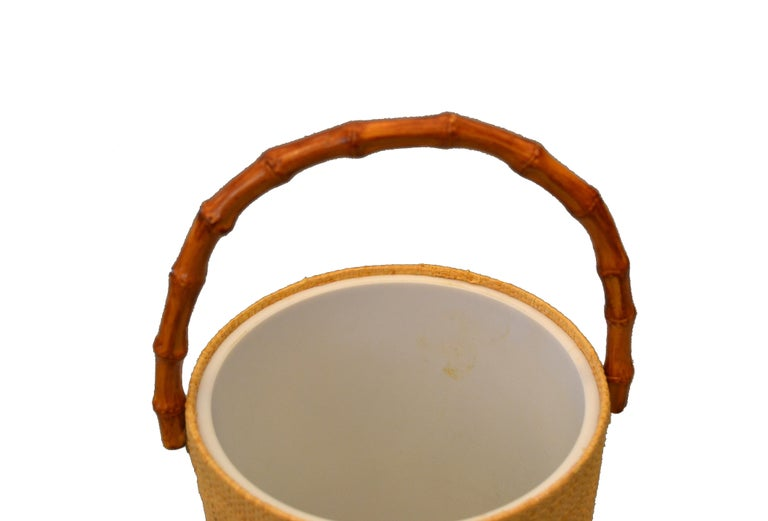 Mid-Century Modern Handwoven Cane & Bamboo Insulated Ice Bucket with Lid For Sale 2