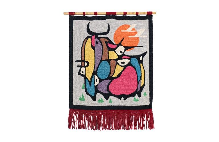 Mid-Century Modern handwoven Wall Tapestry Art.