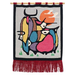 Mid-Century Modern Hand-Woven Wall Tapestry Art