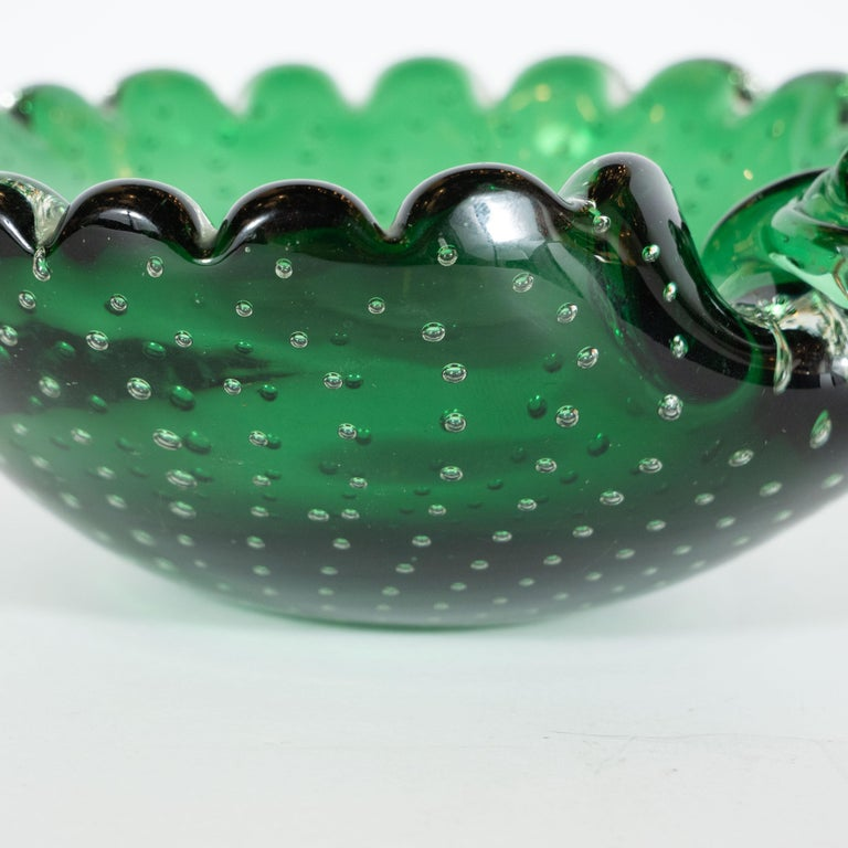 Mid-Century Modern Handblown Bullicante Murano Emerald Glass Bowl For Sale 1