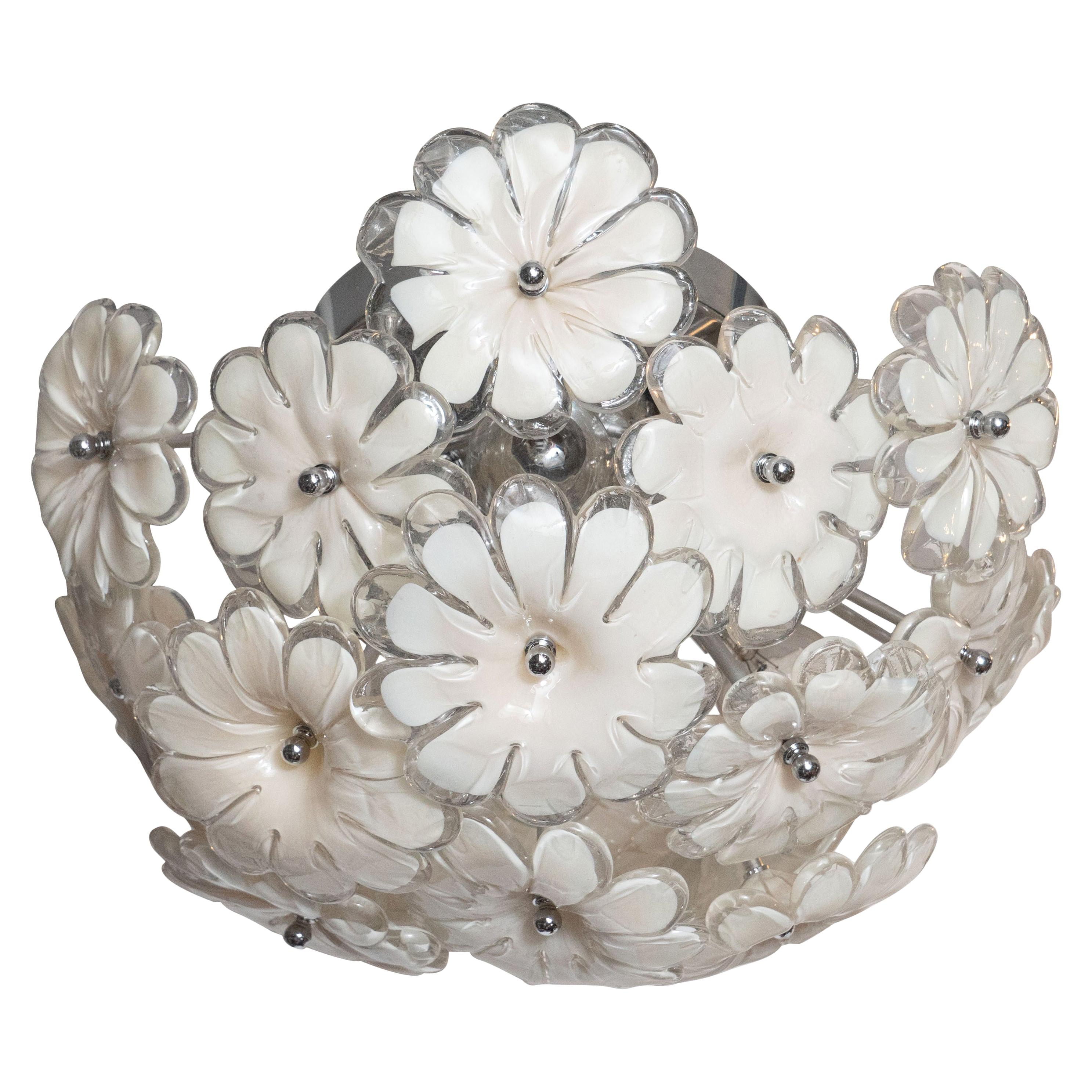 Mid-Century Modern Handblown Murano Floral Flush Mount with Chrome Fittings
