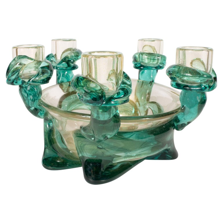 Mid-Century Modern Handblown Murano Glass Centerpiece Bowl with Gold Flecks