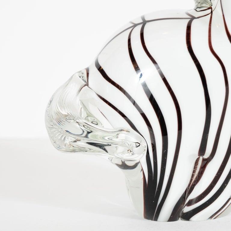 Italian Mid-Century Modern Hand blown Murano Glass Stylized Zebra Decorative Object For Sale