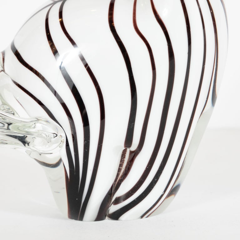 Mid-Century Modern Hand blown Murano Glass Stylized Zebra Decorative Object In Excellent Condition For Sale In New York, NY