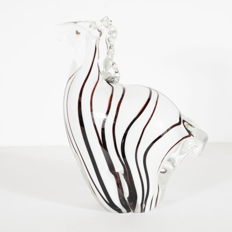 Mid-Century Modern Hand blown Murano Glass Stylized Zebra Decorative Object For Sale 1