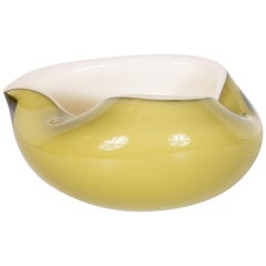 Mid-Century Modern Handblown Murano Moss and Pearlescent Glass Bowl