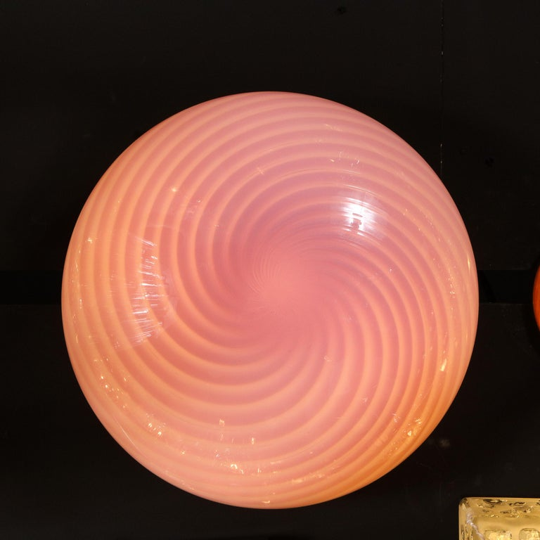 Mid-Century Modern Handblown Murano Pink Striated Swirl Flush Mount Signed Vetri For Sale 1