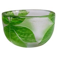 Mid-Century Modern Handblown Shamrock Glass Bowl by Paul Hoff for Kosta Boda