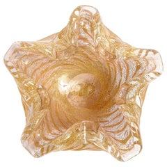 Mid-Century Modern Handblown Translucent Murano Bowl w/ 24kt Yellow Gold Fleck