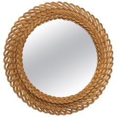 Mid-Century Modern Handcrafted Braided Rattan Mirror, Germany, 1960s