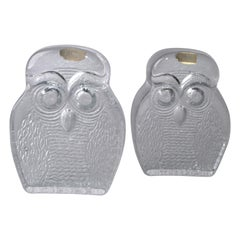 Mid-Century Modern Handcrafted Marked Blenko Thick Clear Glass Owl Bookends
