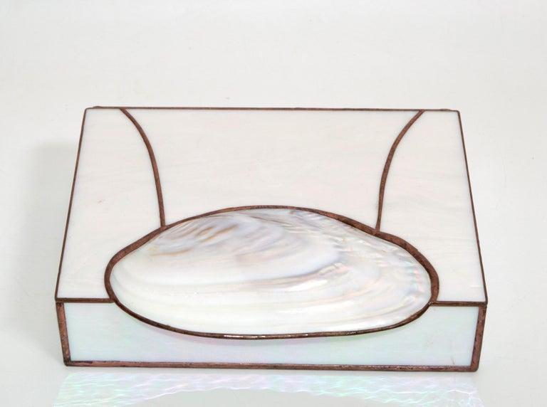 Mid-Century Modern Handmade Nautical Mother of Pearl & Seashell Decorative Box For Sale 3