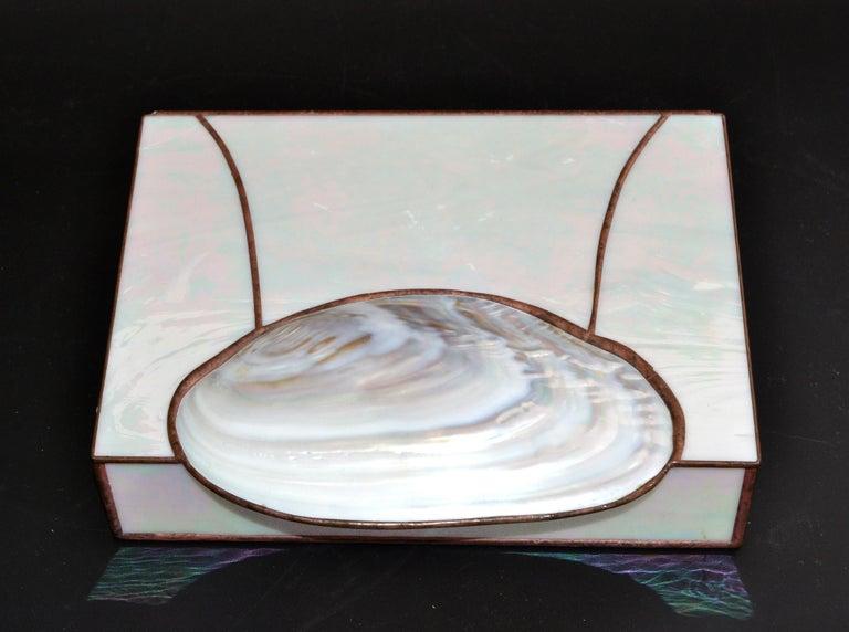 Wood Mid-Century Modern Handmade Nautical Mother of Pearl & Seashell Decorative Box For Sale