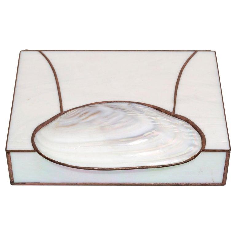 Mid-Century Modern Handmade Nautical Mother of Pearl & Seashell Decorative Box For Sale