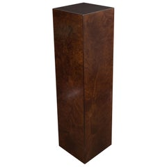 Mid-Century Modern Handrubbed Bookmatched Burled Walnut Pedestal