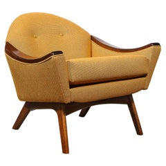 Mid-Century Modern Handrubbed Walnut Button Back Arm Chair by Adrian Pearsall