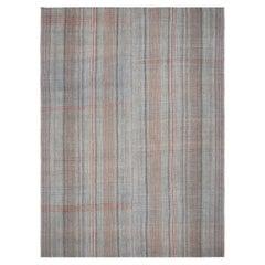 Mid-Century Modern Handwoven Flatweave Plaid Charcoal and Rust Rug