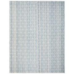 Mid-Century Modern Handwoven Flatweave Rug in Shades of Blue