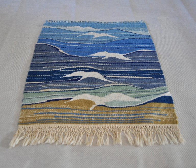 Handwoven Scandinavian vintage tapestry from the 1960s-70s. Designer unknown. Handwoven wool on linen warp. Can be framed.  Dimensions: 34 W x 42 H cm