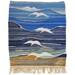 Mid-Century Modern Handwoven Scandinavian Wall Tapestry