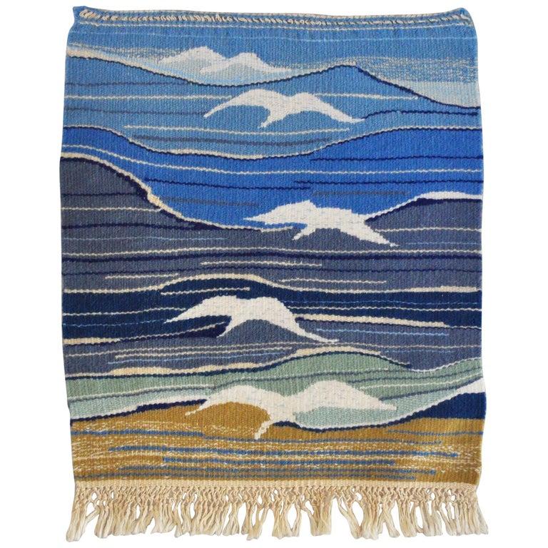 Mid-Century Modern Handwoven Scandinavian Wall Tapestry For Sale
