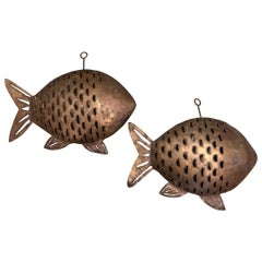 Mid-Century Modern Hanging Fish Candleholders, 20th Century