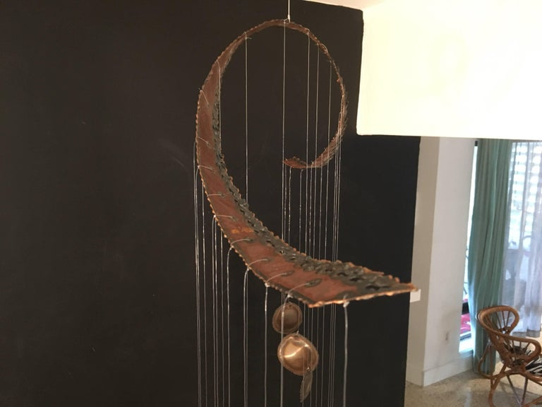Mid-Century Modern Hanging Sculpture Mobile Wind Chime For Sale 6