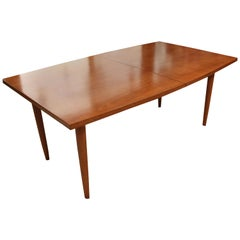 Mid-Century Modern Hans Wegner Danish Expandable Teak Dining Table 3 Leaves