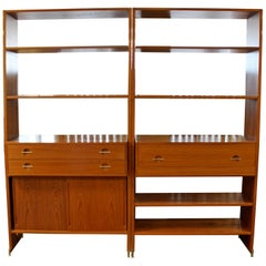 Mid-Century Modern Hans Wegner Danish Teak Bookshelves Wall Unit with Desk 1960s