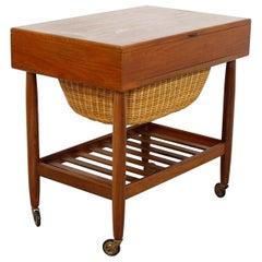 Mid-Century Modern Ejvind Johansson Danish Teak Sewing Cabinet Side End Table