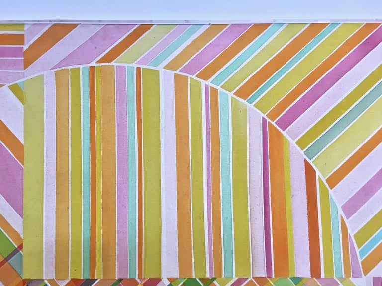 Mid-Century Modern Hard Edge Optical Art Painting, Signed, circa 1960s For Sale 3