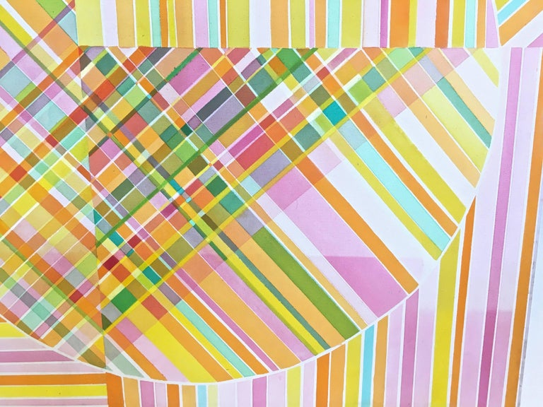 Mid-Century Modern Hard Edge Optical Art Painting, Signed, circa 1960s For Sale 4