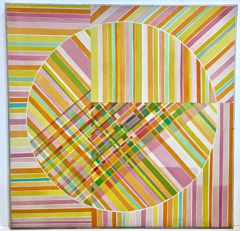 Large scaled midcentury Op Art acrylic painting by Mercedes Monez Smith, circa 1960s. Original Lucite lathe frame intact, with original exhibit label by the San Francisco Museum of Art. Fabulous display of hard edged lines intersecting in a playful