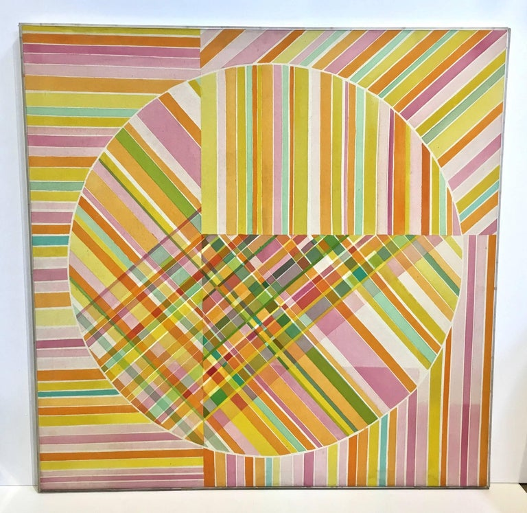 Mid-Century Modern Hard Edge Optical Art Painting, Signed, circa 1960s In Good Condition For Sale In Stamford, CT