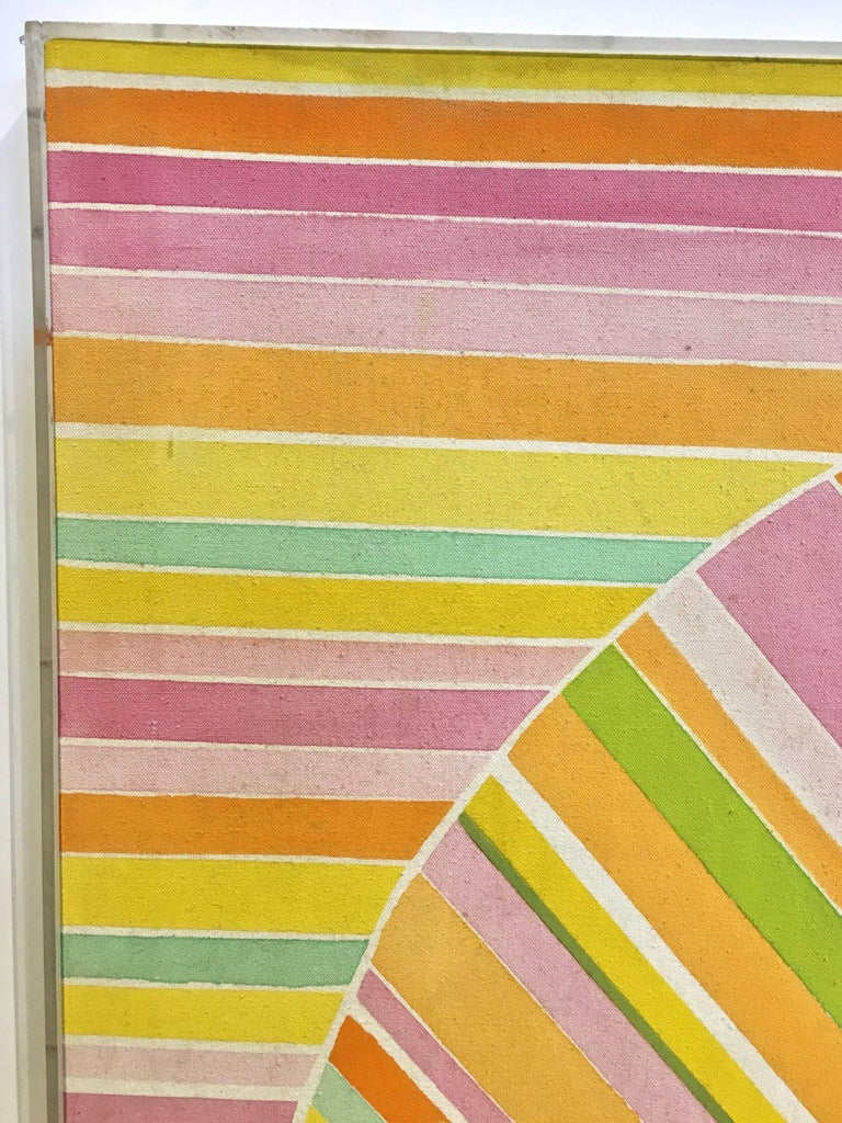 Mid-20th Century Mid-Century Modern Hard Edge Optical Art Painting, Signed, circa 1960s For Sale