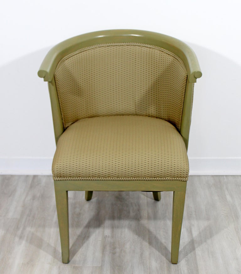For your consideration is a gorgeous set of six, curved back, dining armchairs, designed by Harold Schwartz for Romweber, circa early 1950s. In excellent vintage condition. The dimensions are 23.5