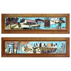 Mid-Century Modern Harris Strong Americana Framed Ceramic Wall Sculptures, Pair