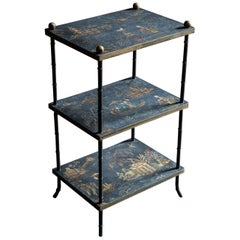 Mid-Century Modern 'Harrods' of London 3-Tier Chinoiserie Étagère
