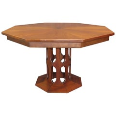 Mid-Century Modern Harvey Probber Octagonal Dining Extension Table in Walnut