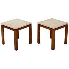 Mid-Century Modern Harvey Probber Pair of Square Travertine Side End Tables