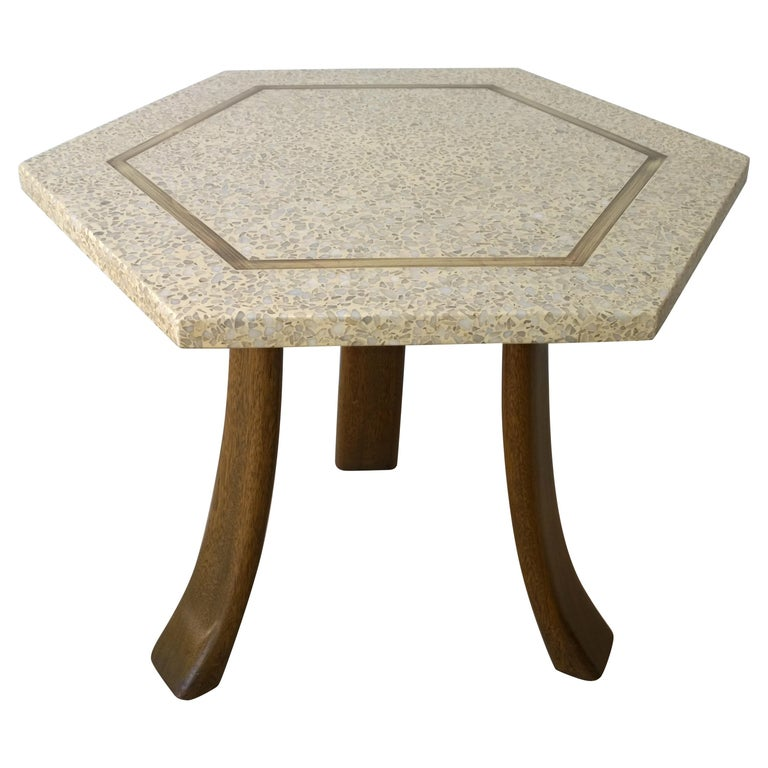 Mid Century Modern Harvey Probber Terrazzo Mahogany Br Hexagon Side Table For
