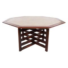 Mid-Century Modern Harvey Probber Walnut & Travertine Marble Card / Dining Table