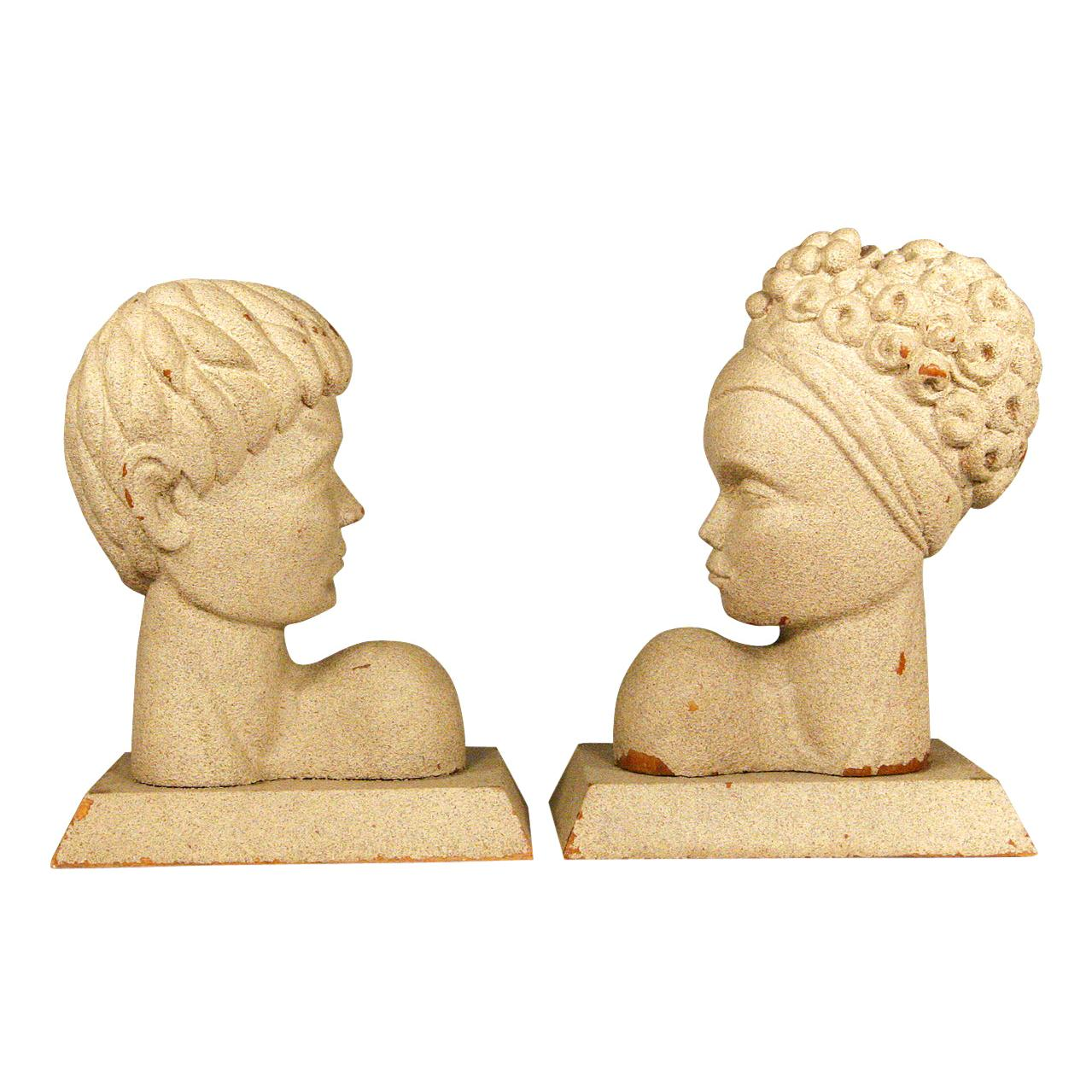 Mid-Century Modern Hawaiian Male and Female Bookends, Pair