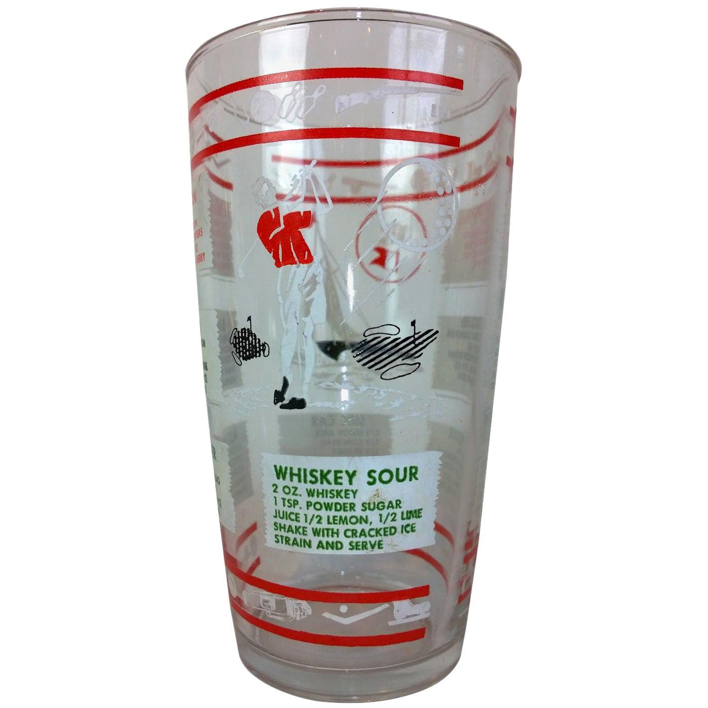 Mid-Century Modern Hazel Atlas Cocktail Recipes Golf Theme Glass Cocktail Shaker